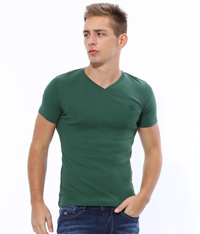 Galaxi Green Cotton V-neck T Shirt
