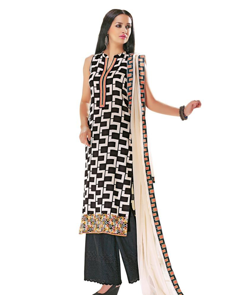 Shelina Black Cotton Printed A Line Stitchedsalwar Suit