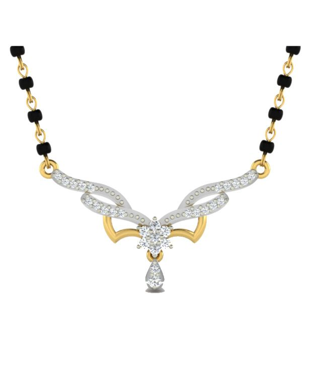 Sparkles Elegant Diamond Mangalsutra With Gold Chain And Black Beads