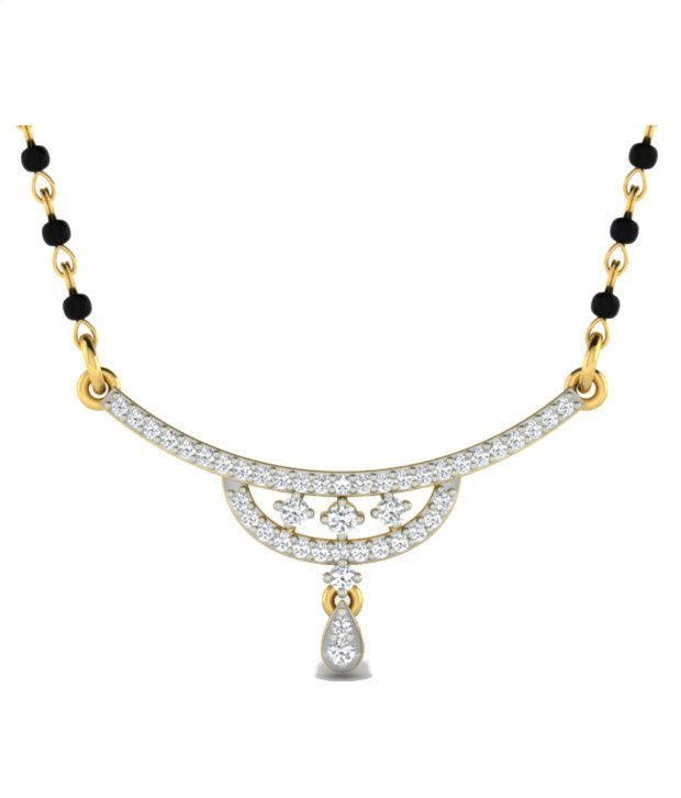 Sparkles Glimmering Diamond Mangalsutra With Gold Chain And Black Beads