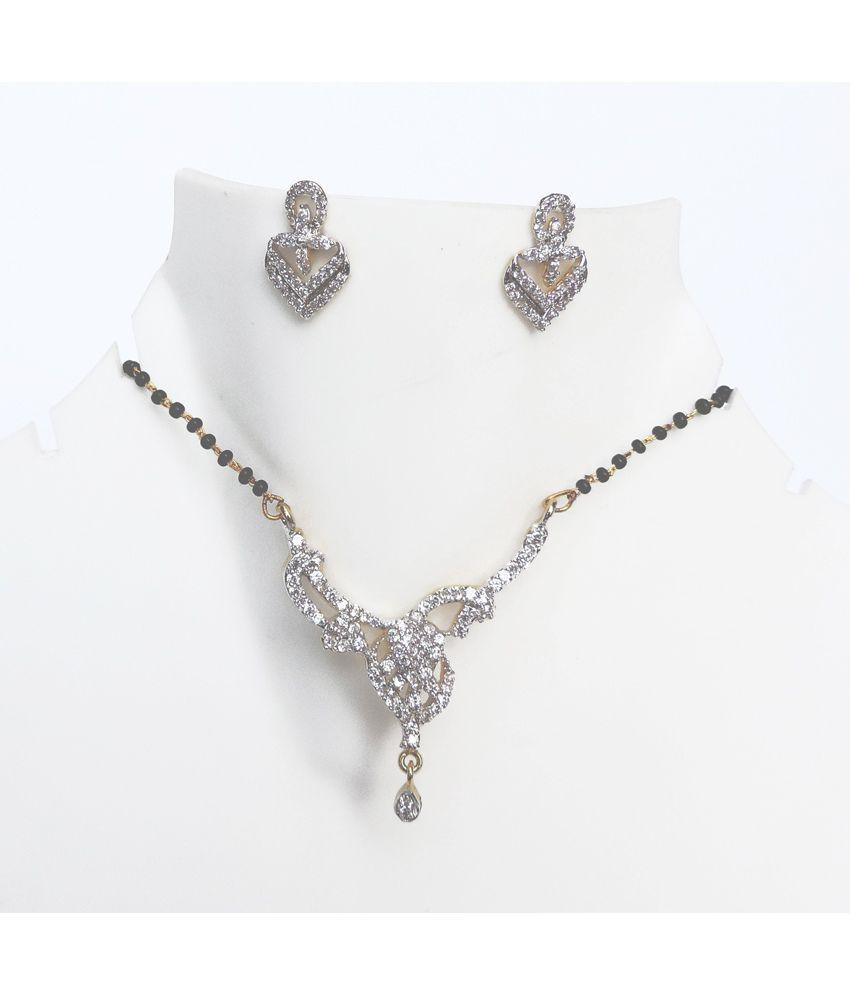 Kundaan Contemporary Beautiful American Diamond Mangalsutra Set For Women