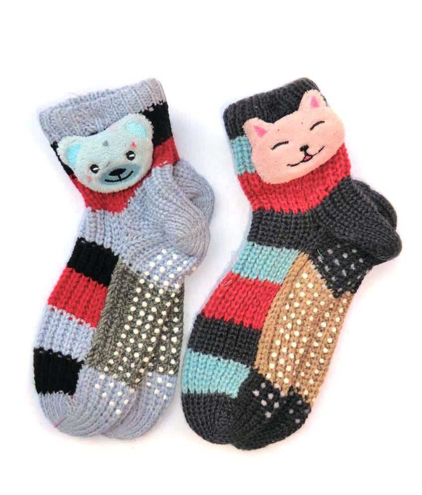Greentree Multicolour Woolen Socks - 2 Pair Pack