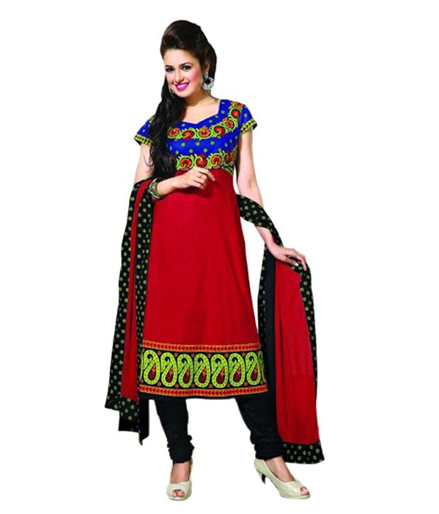 India Craft & Fashion Multi Color Cotton Bandhani Dress Material