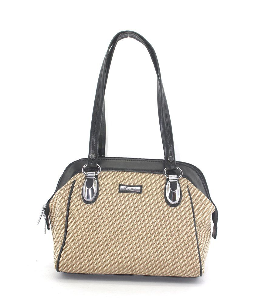 Plasto Art Beige Zip Shoulder Bag