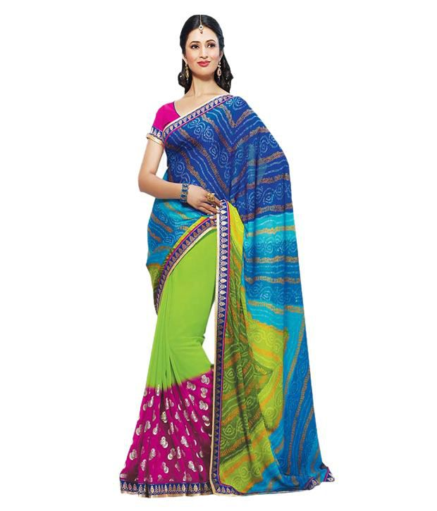 fea951309c Styloshopper Ishita Blue Color Saree - Buy Styloshopper Ishita Blue Color  Saree Online at Low Price - Snapdeal.com