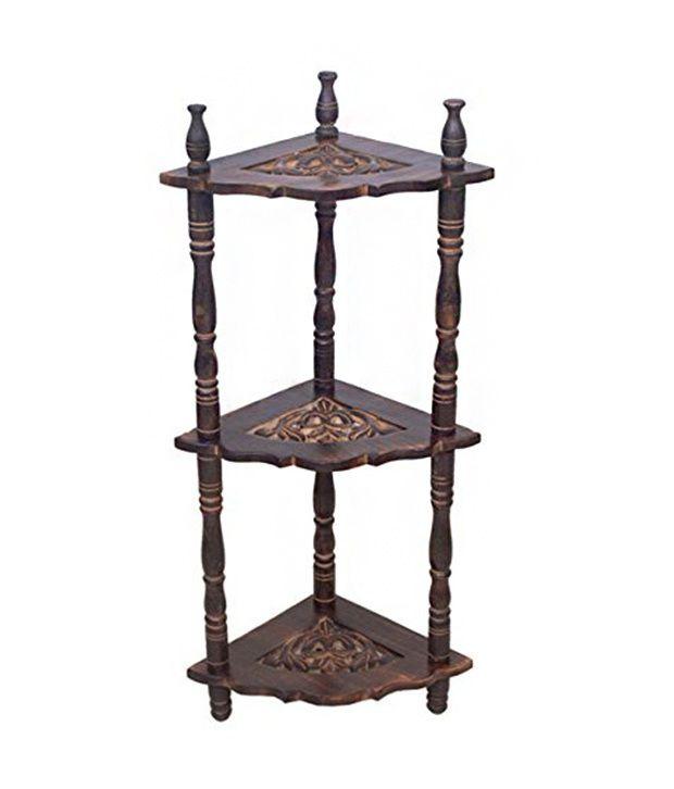 Onlineshoppee Wooden Mini Corner Rack Side Table Home