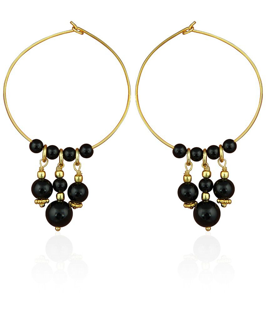 Pearlz Ocean Black & Golden Agate And Onyx Hoop Earrings