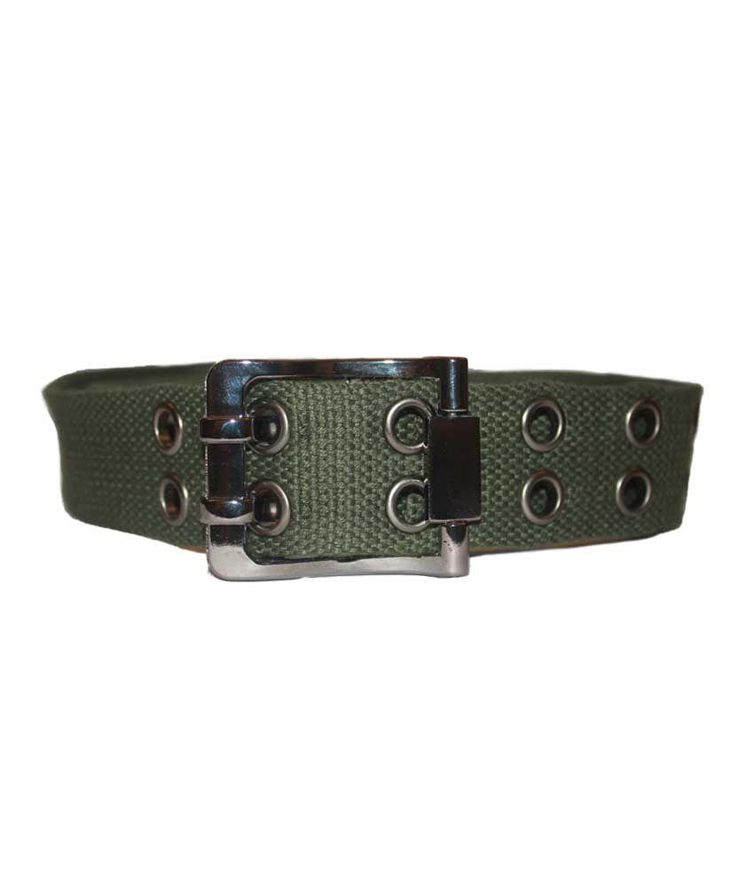 Authority Double Buckle Green Fabric Belt