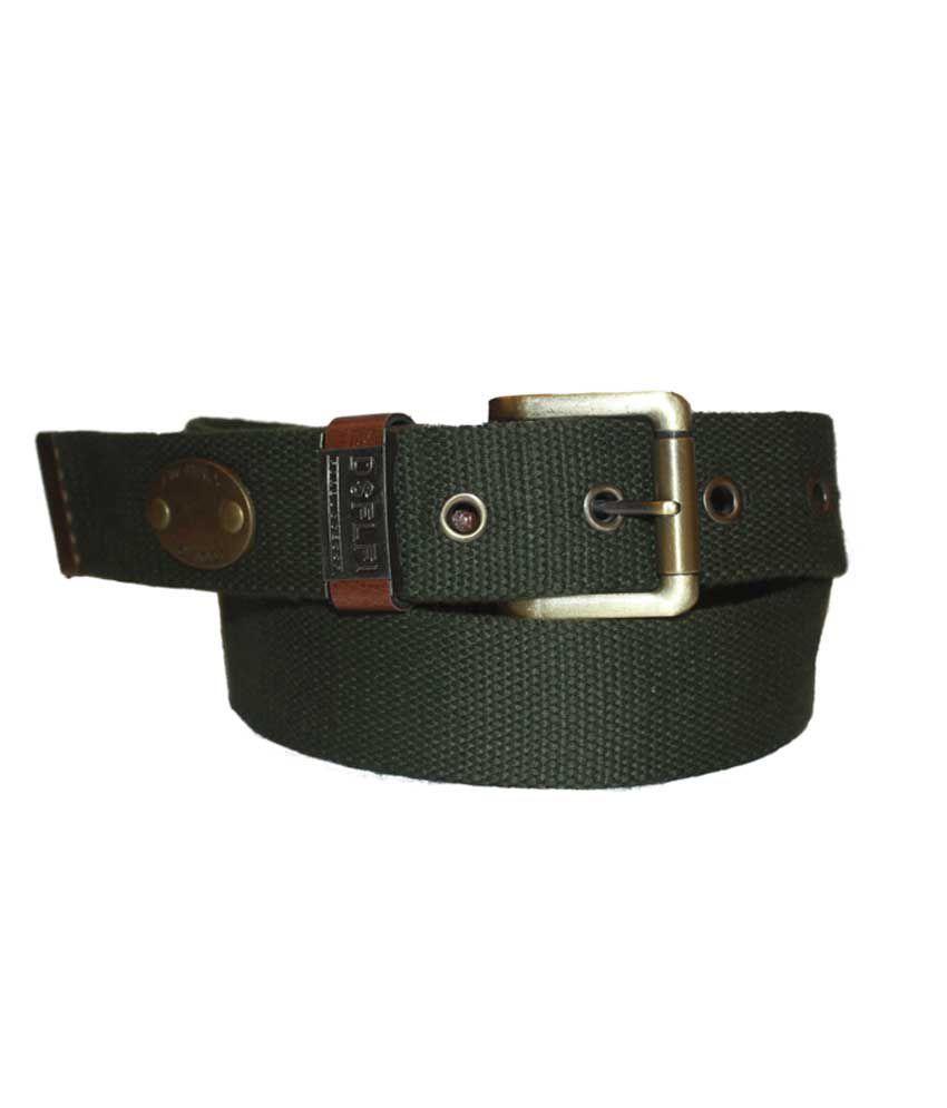 Authority Single Buckle Green Fabric Belt
