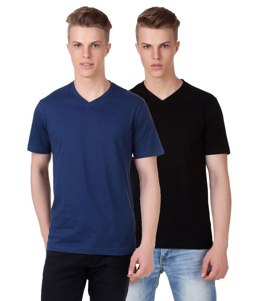 Aventura Outfitters Multicolour Cotton Half Sleeves V-neck T-shirt - Set Of 2