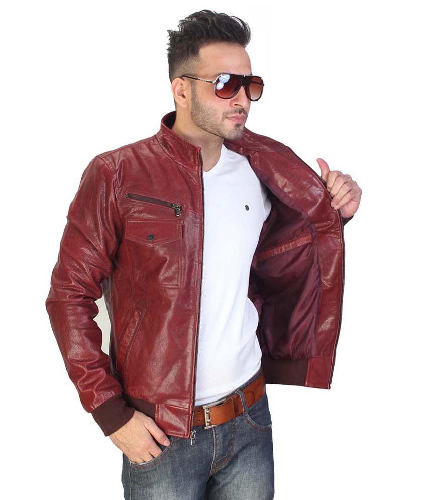 Bareskin Mens Maroon Leather Jacket - Buy Bareskin Mens Maroon