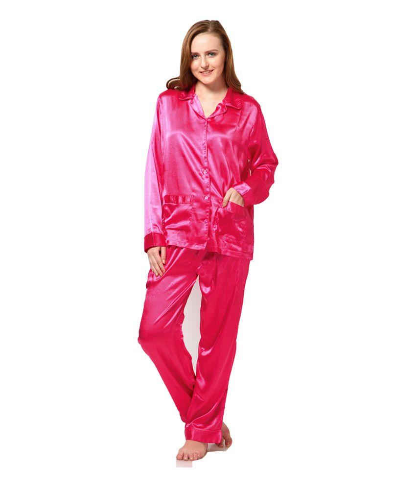 Rose Vanessa Pink Satin Printed Nightsuit