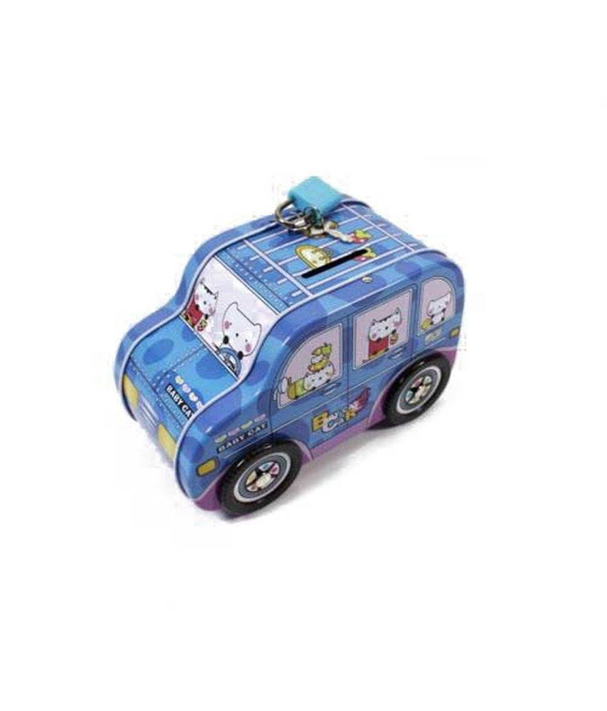 snb cartoon cat jeep car tin money box piggy bank lock. Black Bedroom Furniture Sets. Home Design Ideas