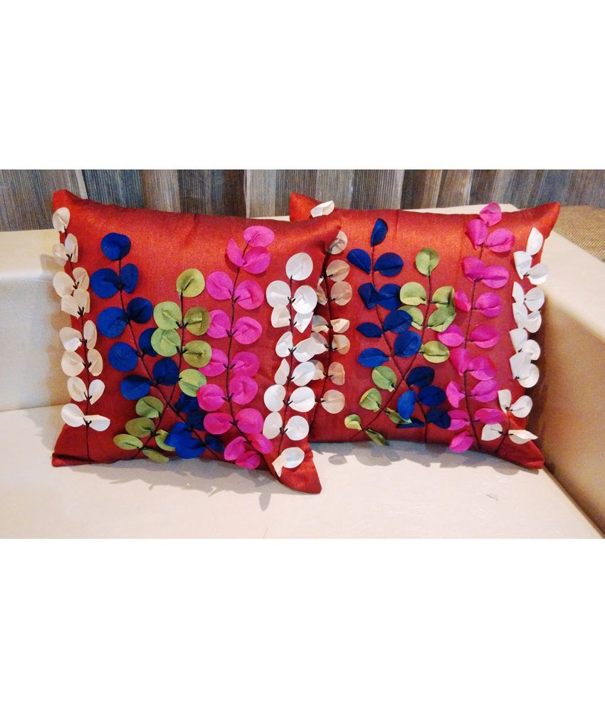Urban Arts Multicolor Handcrafted Tissue Leaves Cushion Cover - Set Of 5 Pcs