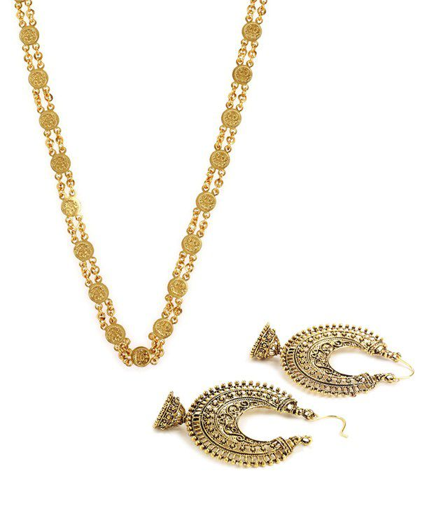 Best Selling Ginni Chain and Antique Look Hanging Earrings Combo by GoldNera