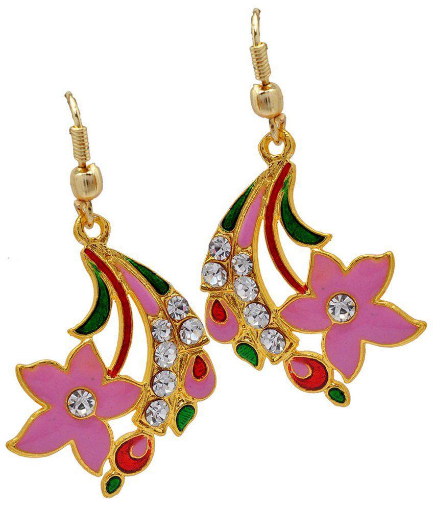 Maayra Pink & Golden American Diamond Hanging Earrings