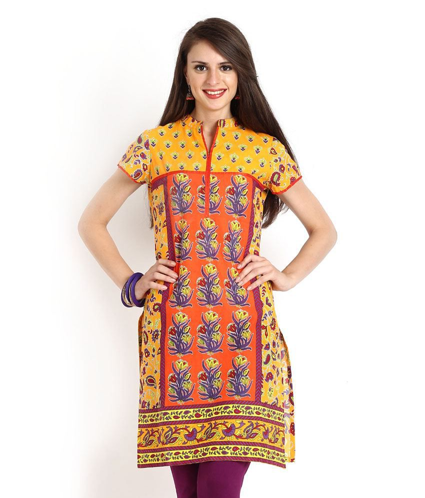 Aaboli Orange Printed 3/4th Sleeves Long Kurta