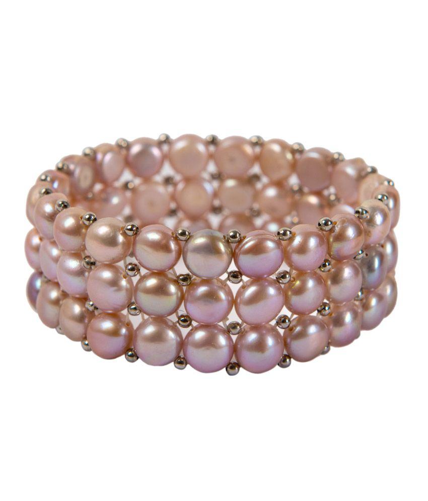 Pearl Taj Pearl Pure Pearls Elastic Bracelet Triple Strand - Purple (Violet)