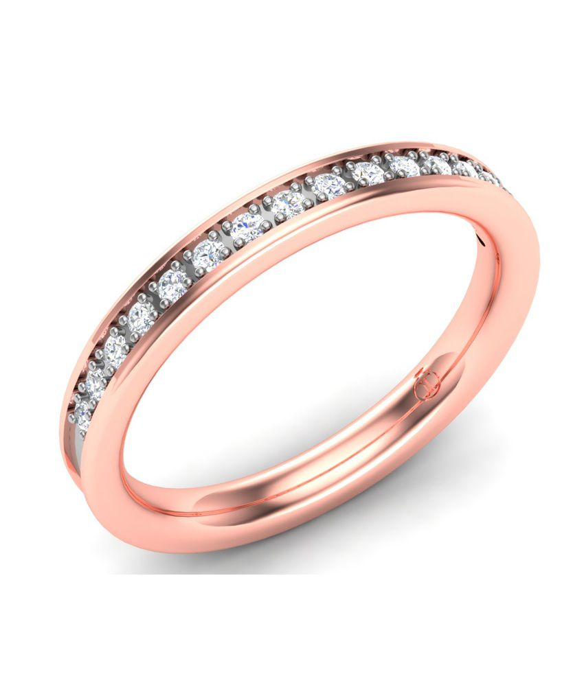 Theme Jewels Band LR-0069, Certified Real Diamond & 14Kt Hallmarked Rose Gold Ring