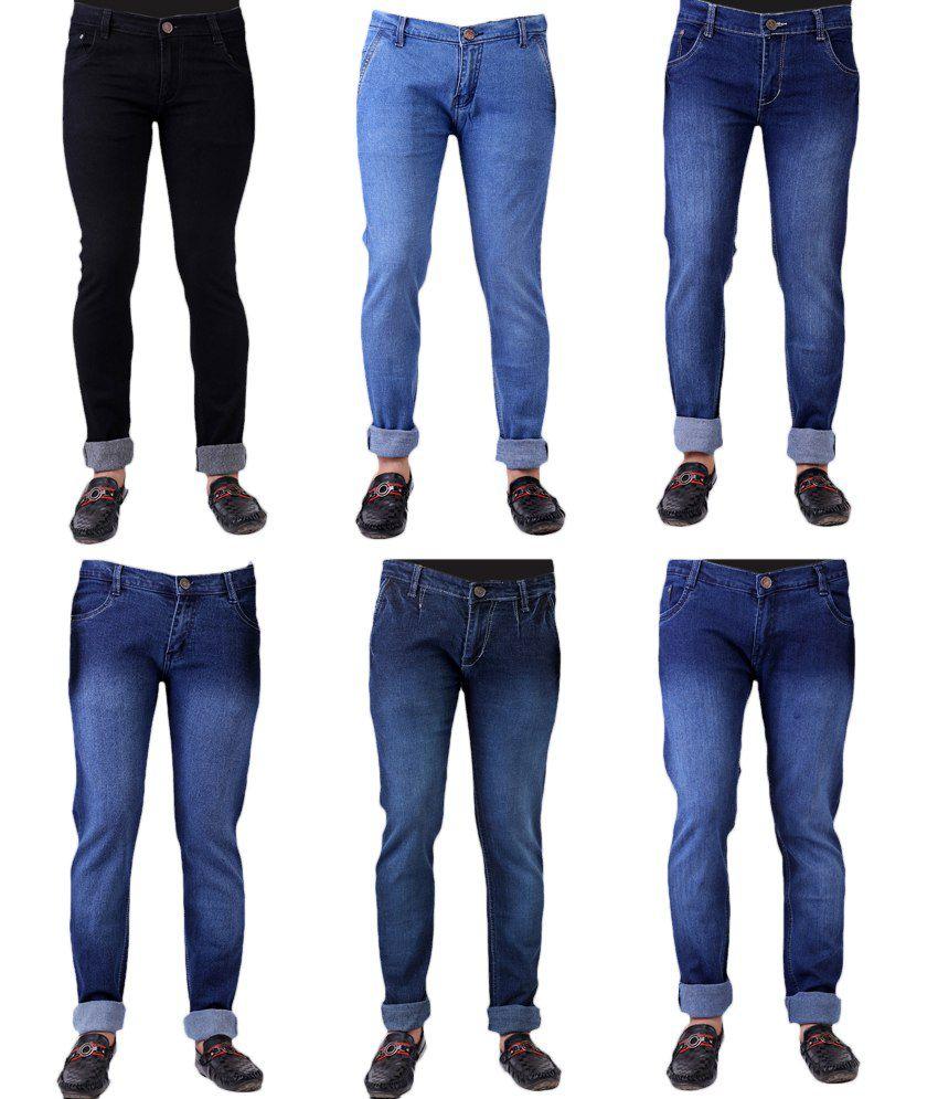 Haltung Menu0026#39;s Jeans Combo Of 6 Denim - Buy Haltung Menu0026#39;s Jeans Combo Of 6 Denim Online at Low ...