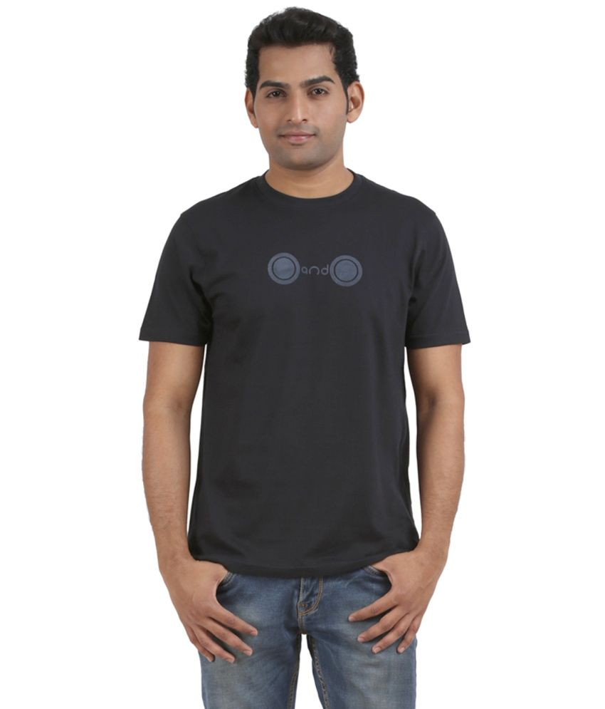 Orange And Orchid Cotton Black Casual Round Neck Printed T-Shirt Half Sleeve