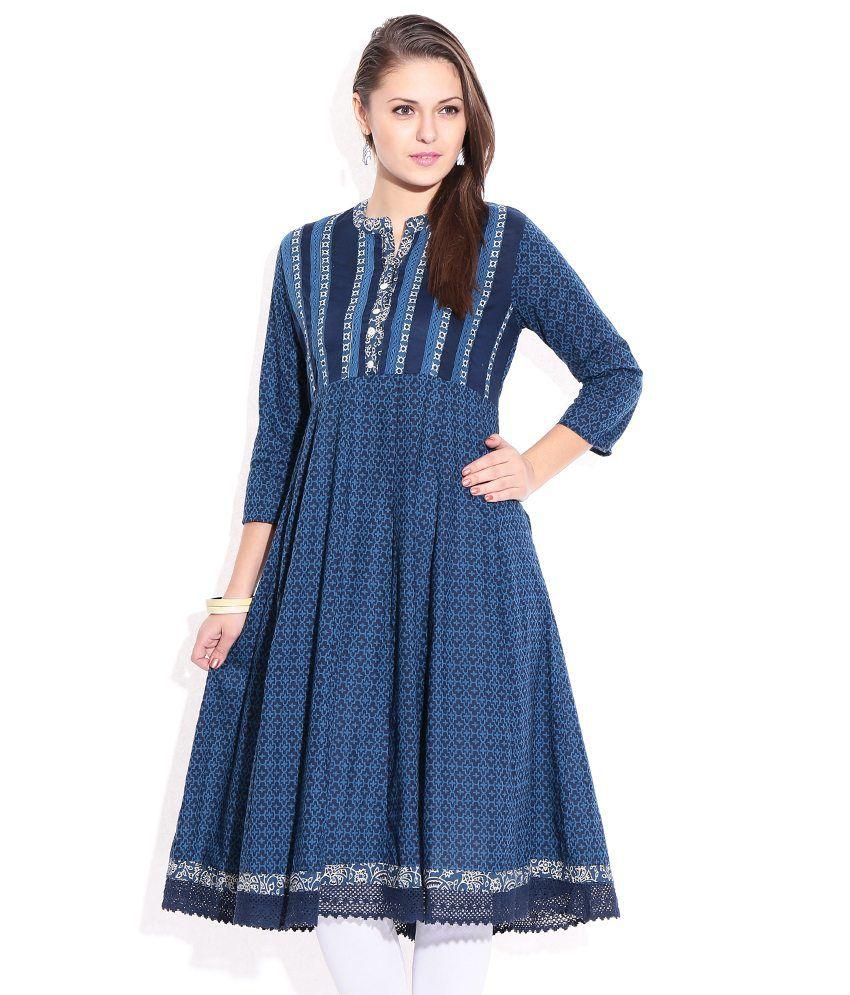 Rangriti Indigo Printed Cotton  Kurti