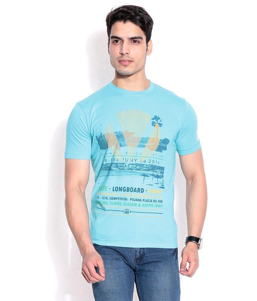 T-base Blue Cotton T-shirt