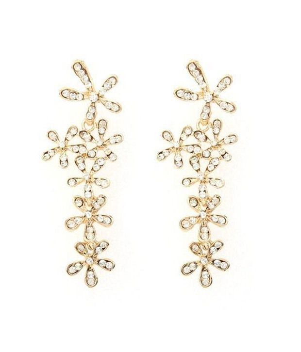 GirlZ Fashion! Fashion Rhinestone Flower Long Earrings : Gold