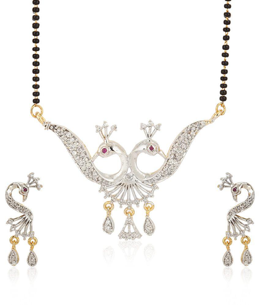Jewels Galaxy Mayur Design American Diamond Mangalsutra Set