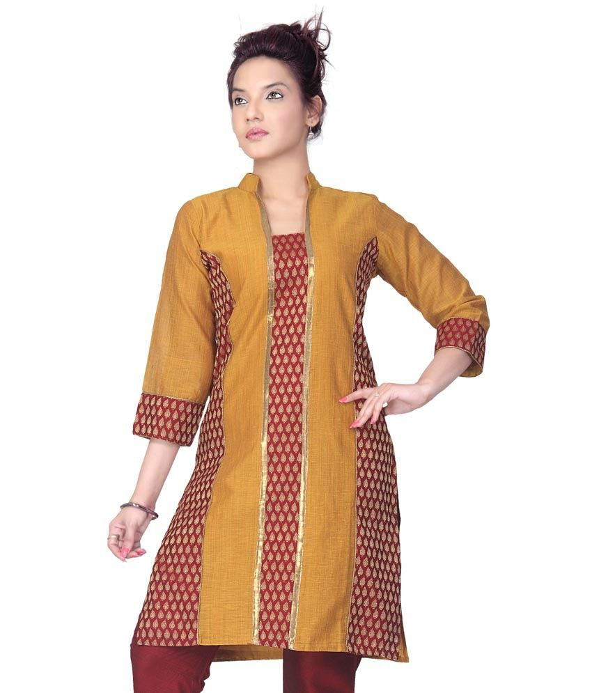 Lifestyle Retail Yellow Cotton Handcrafted Chinese Collar 3/4th Sleeves Kurtis