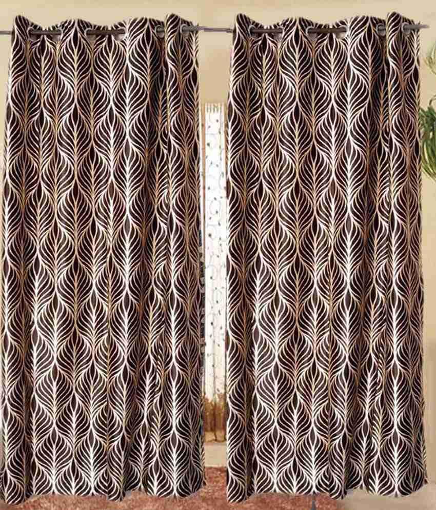 Madhav Product Set Of 2 Door Eyelet Curtains Floral Yellow Brown Buy Madhav Product Set Of 2