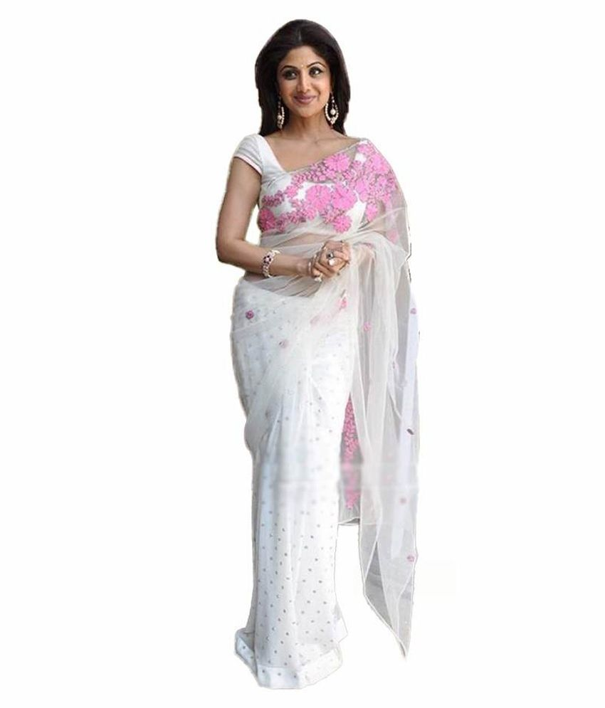 Vastram White And Grey Net Saree Buy Vastram White And Grey Net