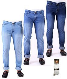 Ansh Fashion Wear Combo Of 3 Men's Jeans With Free 1 Pair Of Assorted Socks