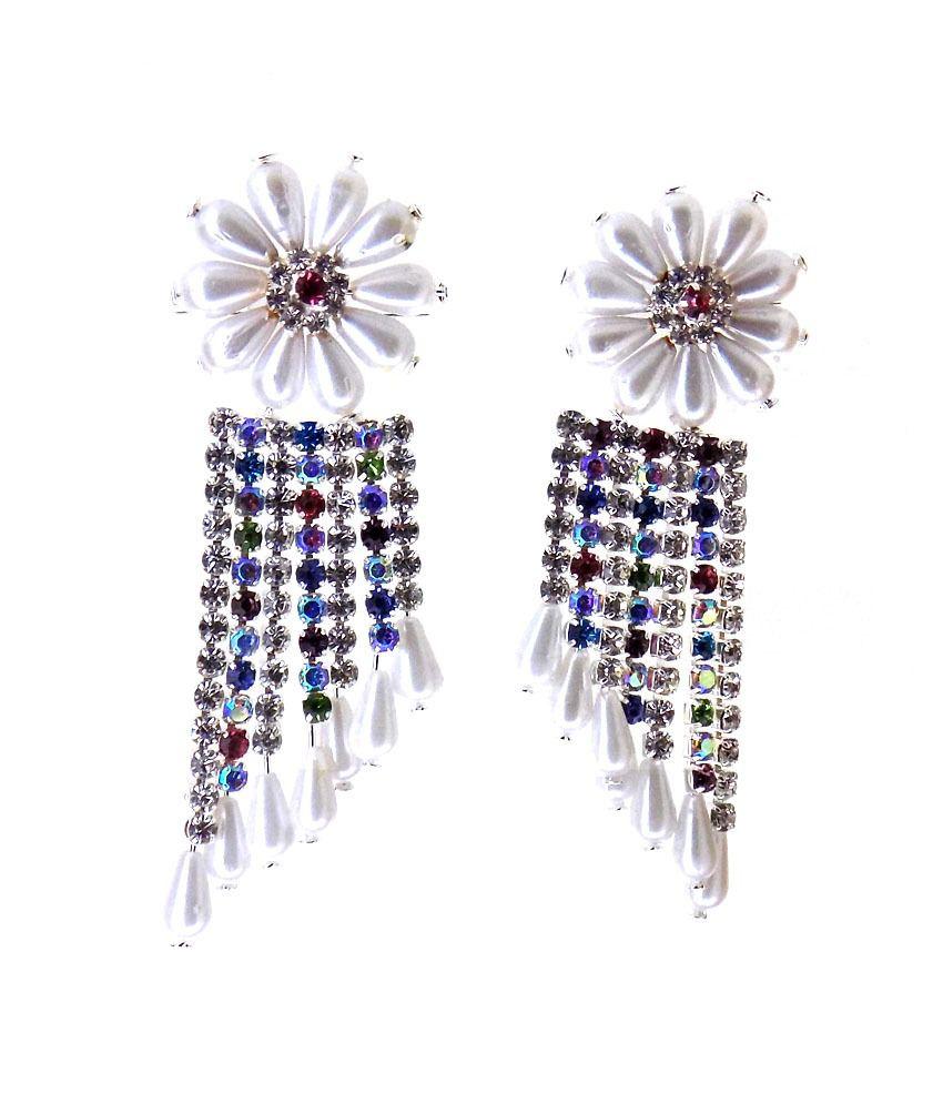 Aabhushan Jewels Cz Silver Plated Onyx Look Dangler Earrings For Women