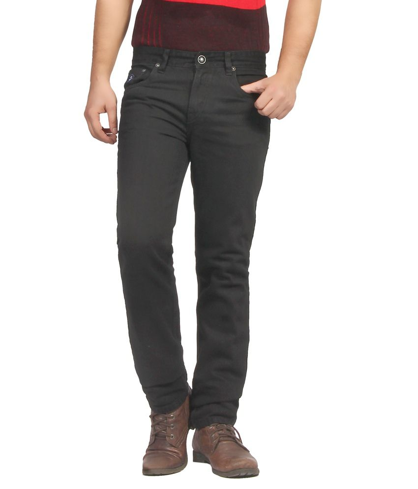 Fn Jeans Stylish Black Slim Fit Low Rise Denim For Men   Fnj9146