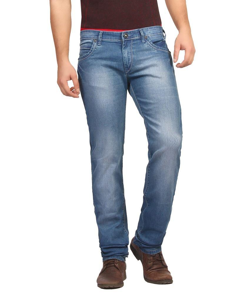 Fn Jeans Stylish Blue Slim Fit Low Rise Stone Wash Denim For Men | Fnj9157