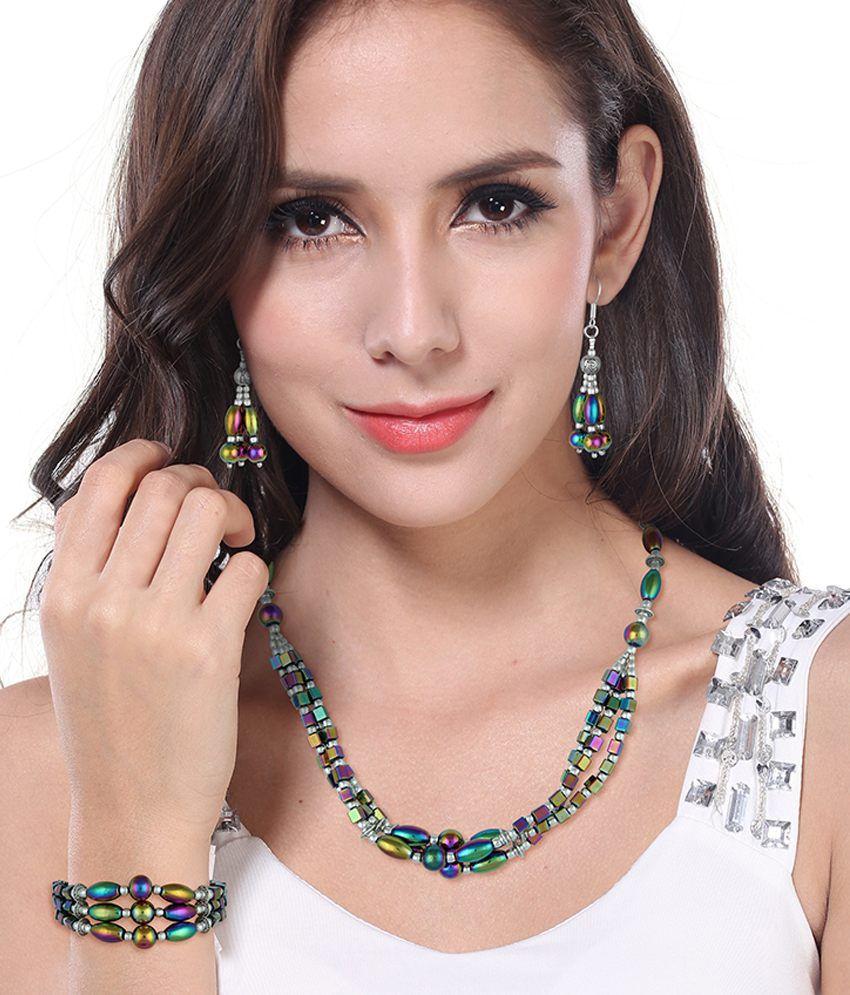 Pearlz Ocean Mahala Rainbow Hematite Beads Three- Piece Necklace Set