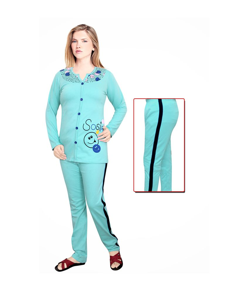 c61ac56b57 Buy Sosia Blue Winter Cotton Nightsuit Online at Best Prices in India -  Snapdeal