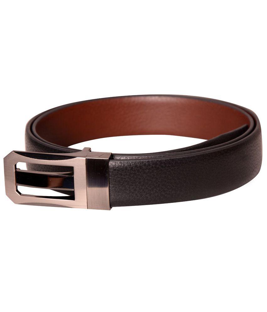 Cops Black Formal Reversible Belt For Men