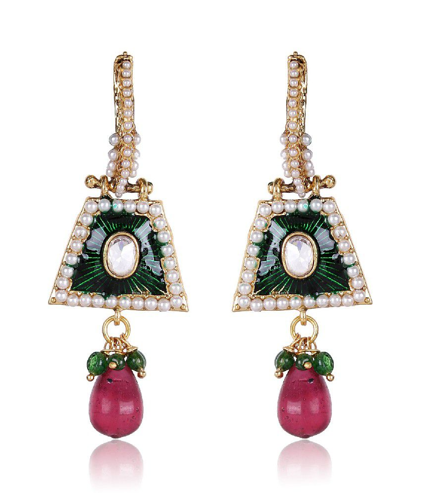 Scrunchh Green Meena Earrings With Faux Pearls (2.6 Inches)