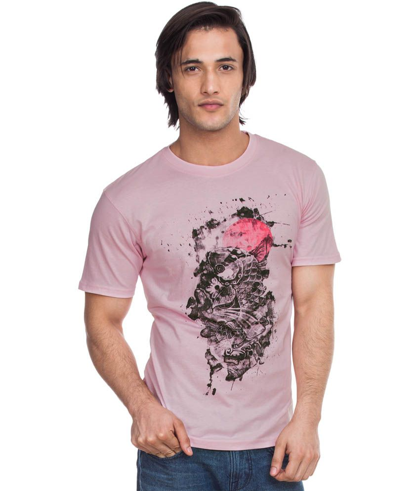 Zovi Carp Light Pink Graphic Round Neck T-shirt