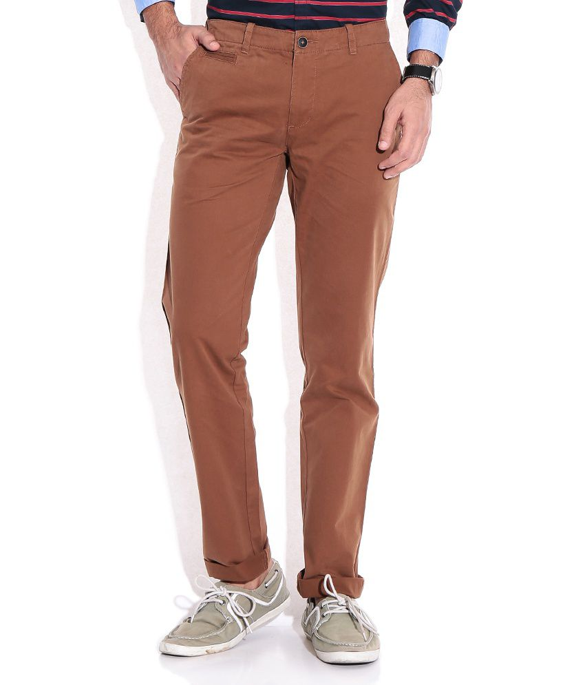 Wills Lifestyle Brown Comfort Semi Formals Trousers & Chinos