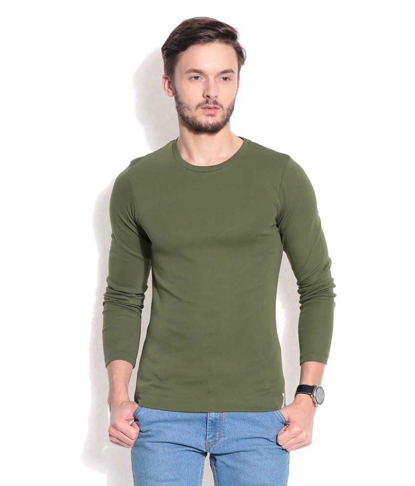 Hues Green Basic Round-neck T-shirt
