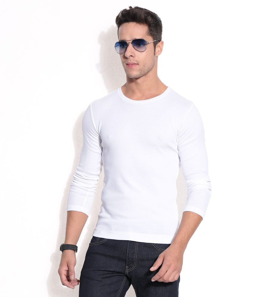 Hues White Basic Round-neck T-shirt