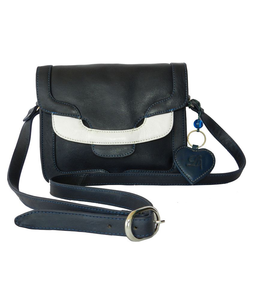 Leather Art Blue and White Shoulder Bag With Keychain