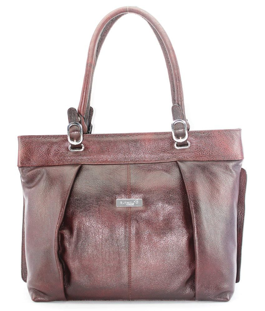 Butterfly Leather Brown Ladies Hand Bag (131)