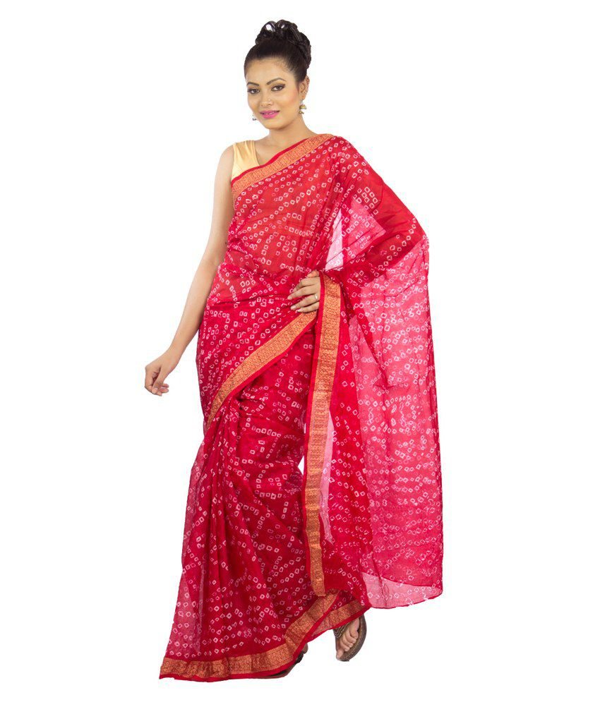 Jaipur Kurti Red And Pink Art Silk Hand Dyed Bandhej Saree