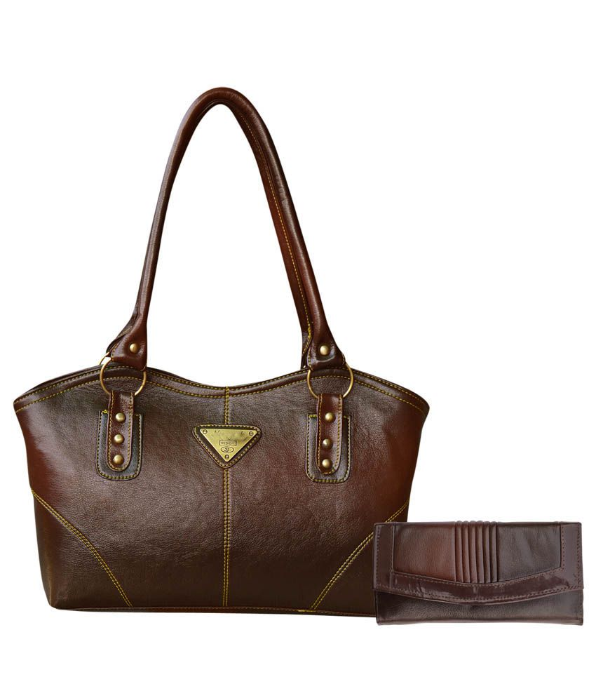 Bueva Exclusive Coffee Brown Hand Bag With Coffee Brown Clutch