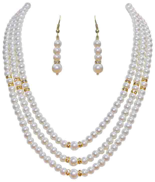 7bd640807e551 Classique Designer Jewellery Fashionable White Pearl Necklace Set