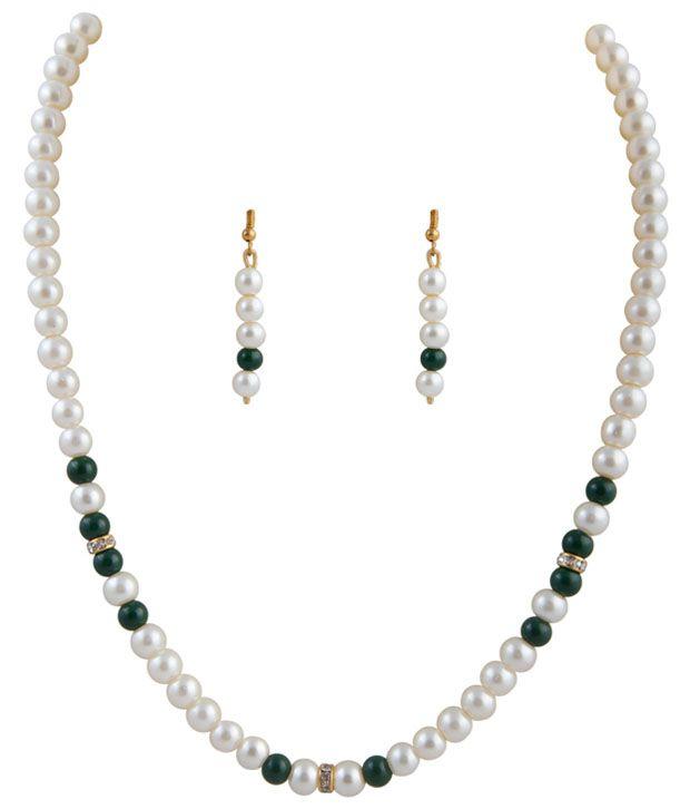 Classique Designer Jewellery Pretty White Pearl Necklace Set
